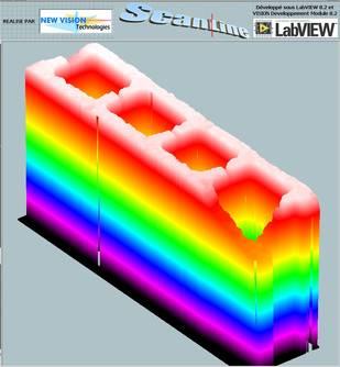 Représentation 3D ScanLine de la mesure de la forme d'un parpaing